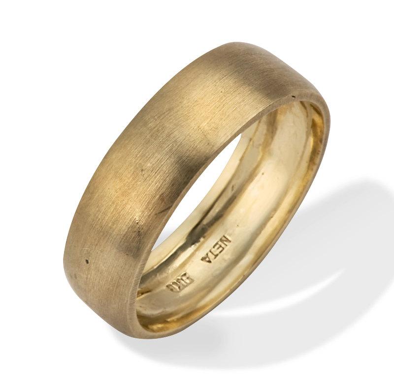 classic brushed matte 14k gold wedding ring