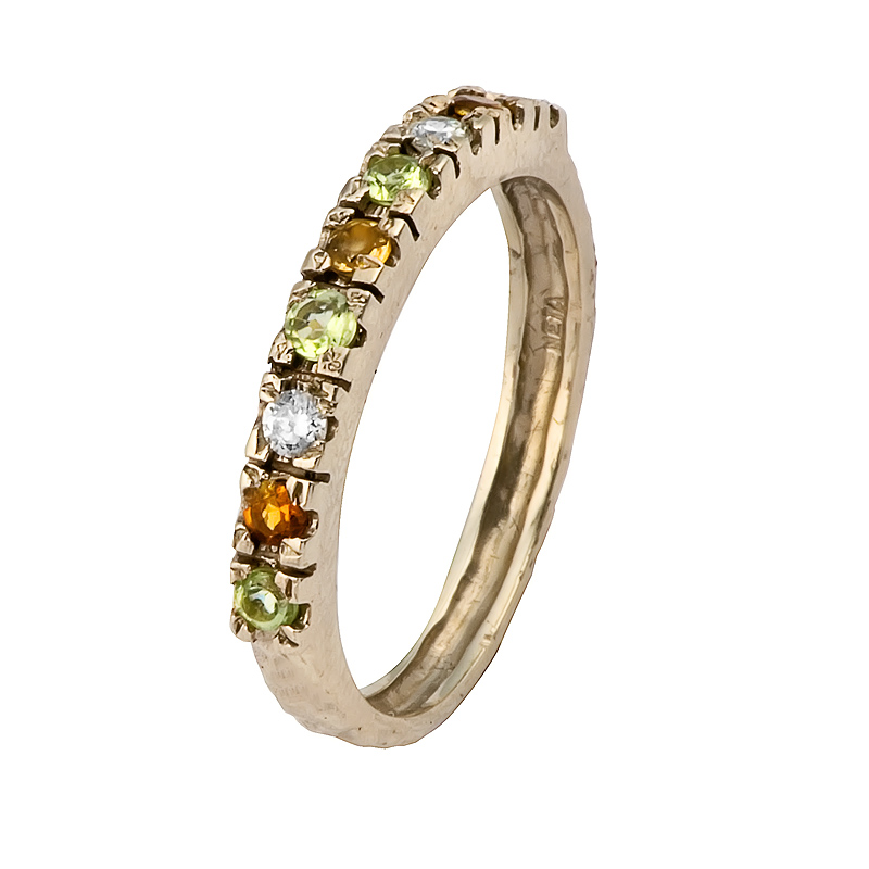 half eternity pave semi precious gemstone ring 14k gold