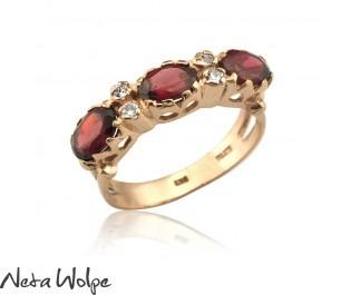 Three Garnet Crown Ring