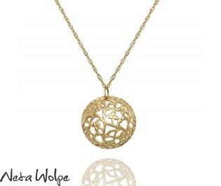 Vintage Gold Floral Dome Necklace