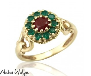 Modern Ruby & Emerald Yellow Gold Ring