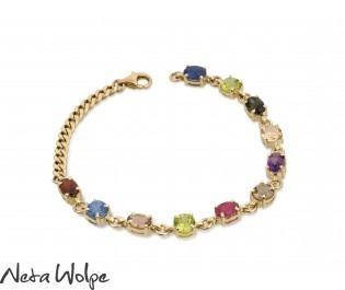 Classic Style Multi Gemstone Bracelet Yellow Gold