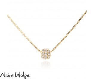 Gold Diamond Barrel Slide Necklace