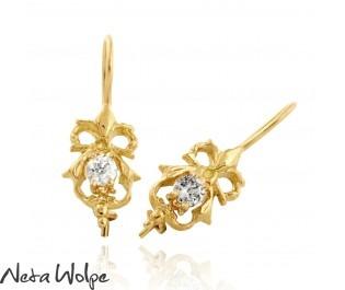 Victorian Style Diamond Bow Earrings