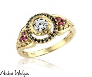 Bezel Set Diamond Ruby Floating Halo Ring