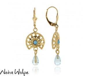 Sunshine Hanging Blue Opal Earrings 14k Gold