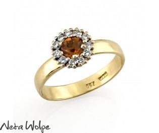 Yellow Sapphire & Diamond Halo Ring