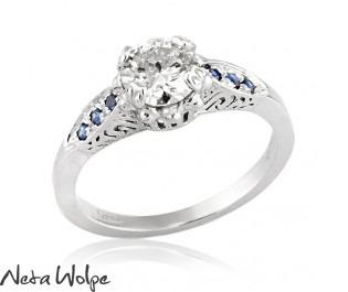 Art Deco Diamond & Sapphire Engagement Ring