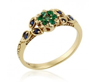 Floral Emerald Cluster Ring