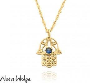 Judiaca Gold Filigree Sapphire Hamsa