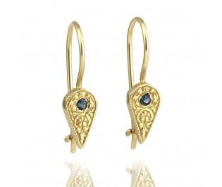 Hand Engraved Sapphire Drop Earrings