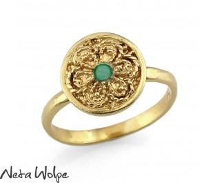 Emerald Filigree Round Gold Ring