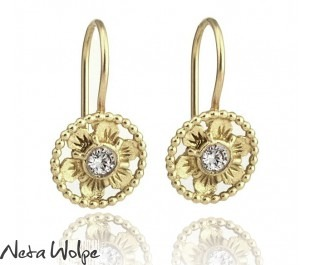 Antique Style Flower Drop Earrings