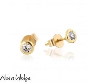 Bezel Set Diamond Gold Studs