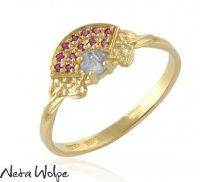 Aquamarine and Ruby Engagement Ring