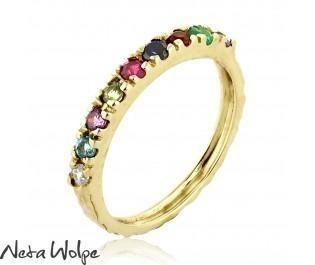 Half Eternity Pave Gemstone Stacking Ring
