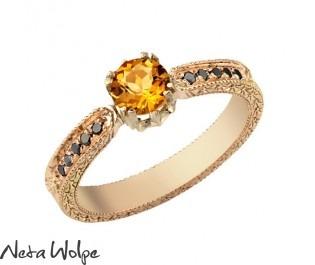 Citrine Pave Engagement Ring