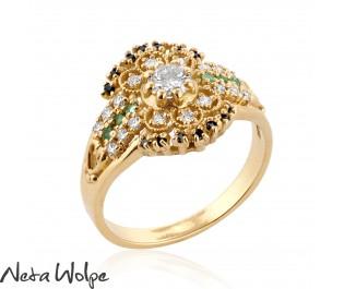 Diamond & Emerald Mosaic Shield Ring