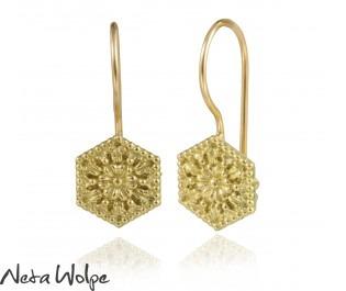 Hexagon Gold Earrings