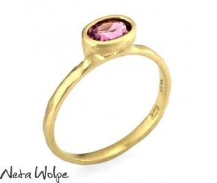 Yellow Gold Tourmaline Engagement Ring