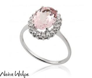 Victorian Style Morganite & Diamond Engagement Ring