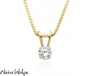 Solitaire Diamond Yellow Gold Pendant