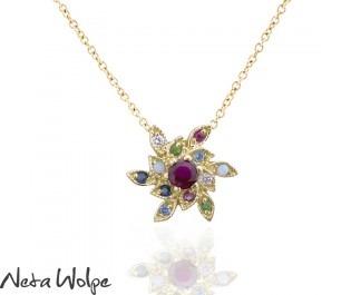 Victorian Style Mixed Gemstone Pendant