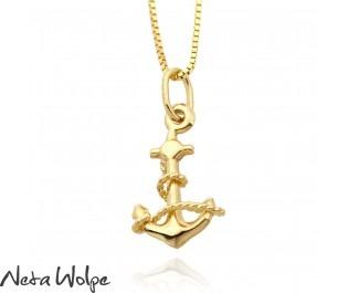 Gold Anchor Pendant Necklace