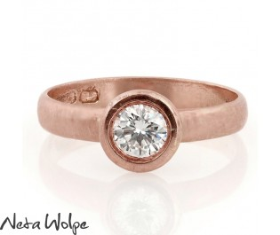 Bezel Set 14k Diamond Engagement Ring