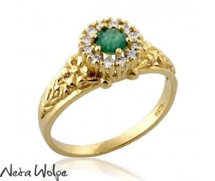 Emerald & Diamond Halo Flower Ring