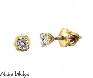 Elegant Gold Diamond Stud Earrings