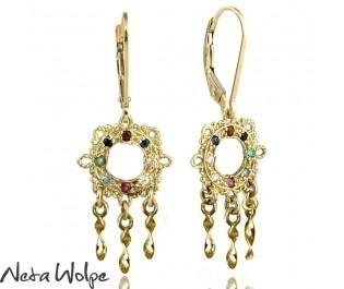Yellow Gold Filigree Dangling Earrings