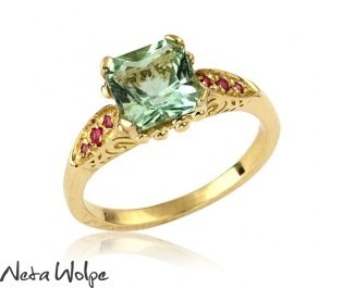 Art Deco Beryl Engagement Ring Yellow Gold