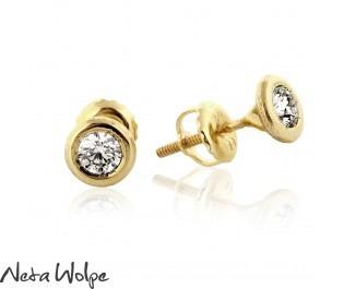 Bezel Set Diamond Yellow Gold Studs - BIG