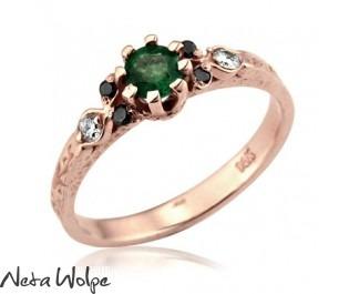 Blossoming Beauties Emerald & Diamond Engagement Ring