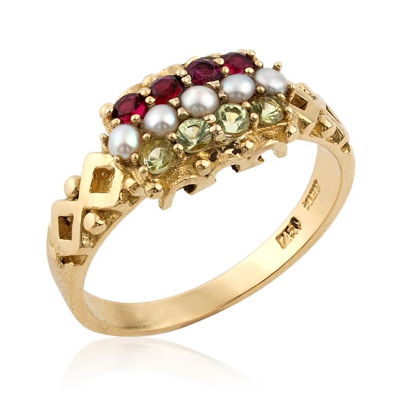 Restoration of a Antique Garnet Pearl & Tourmaline Ring
