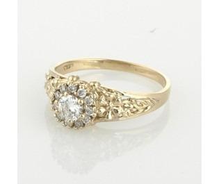 18k Diamond Halo Flower Ring