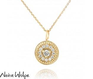 Vintage Diamond Halo Gold Pendant