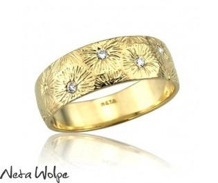 Diamond Art Nouveau Sunburst Ring