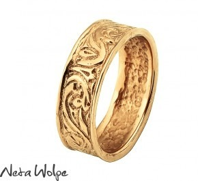 Gold Antique Scroll Wedding Band