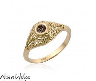 Bezel Set Natural Diamond Engagement Ring