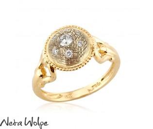 Gold Art Nouveau Round Plate Diamond Engagement Ring
