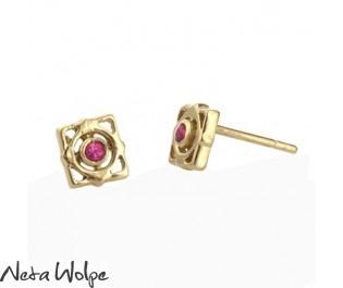 Elegant Art Nouveau Ruby Stud Earrings