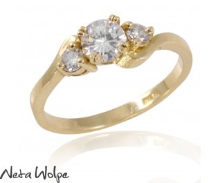 Three Stone Yellow Gold Diamond Ring