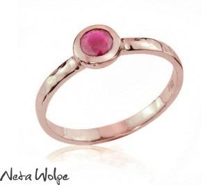 Bezel Set Red Ruby Ring