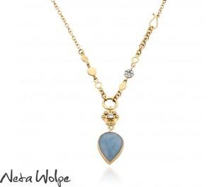 14k Teardrop Aquamarine Pendant Necklace