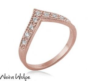 Art Deco Style Diamond V Ring