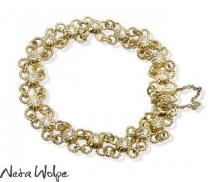 Yellow Gold Flower Filigree Linked Diamond Bracelet