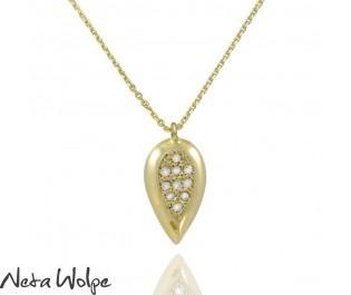 Yellow Gold Diamond Drop Pendant Necklace