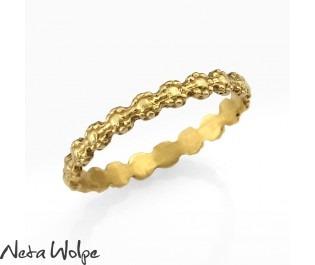 Gold Art Nouveau Delicate Floral Wedding Ring